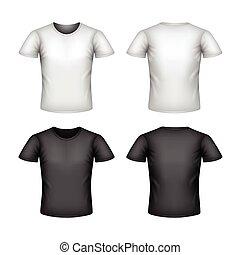 tシャツ, 白, ベクトル, マレ, 隔離された