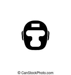 taekwondo, ヘルメット, ボクシング, 平ら, ベクトル, headgear., アイコン