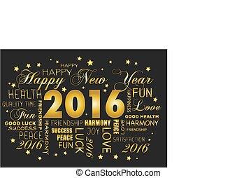 tagcloud, -, 挨拶, 年, 新しい, 2016, カード, 幸せ