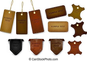 tags., セット, ラベル, 革, 大きい