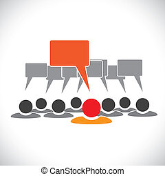 talking(speech, 概念, &, graphic-, 従業員, ベクトル, 泡, リーダー