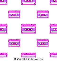 tapes., 型, 磁気, seamless, loopable, cassettes., 音楽, 背景 パターン, 80s, アナログ, オーディオ