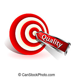 target., concept., 印, ヒッティング, ベクトル, さっと動きなさい, 品質, 赤
