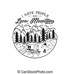 tee., 概念, 愛, 人々, 冒険家, 憎悪, (どれ・何・誰)も, 完全, 面白い, 恋人, キャンプ, 型, vector., 引かれる, 株, 山, wanderlust, quote., 手, 冒険, t-shirt., キャンプ, hikers., emblem., ∥あるいは∥