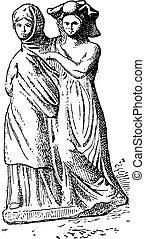 terracotta, engraving., グループ, tanagra, 型