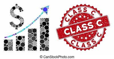 textured, モザイク, 財政, バー, 成長, クラス, 切手, c, チャート