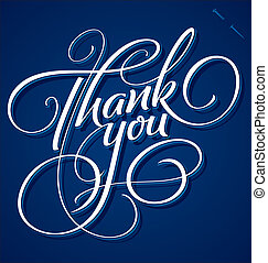 'thank, レタリング, 手, you', (vector)