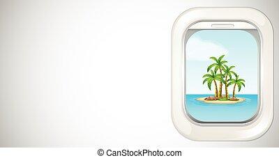 throught, 島, 窓, 背景, 飛行機, 光景, テンプレート