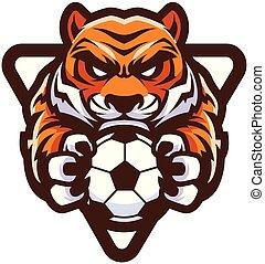tiger, サッカーフットボール, マスコット