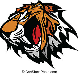 tiger, ベクトル, マスコット, グラフィック