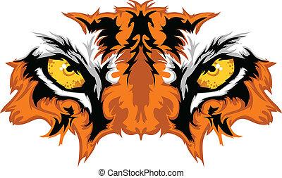 tiger, 目, マスコット, グラフィック