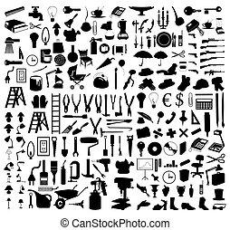 tools., イラスト, シルエット, ベクトル, 様々, 主題