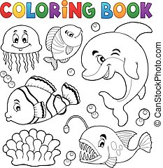 topic, 着色, 海洋, 動物群, 1, 本