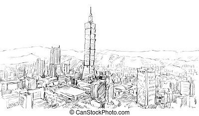 townscape, ベクトル, スケッチ, 都市の景観, 台湾, 建物, taipei, ショー, イラスト