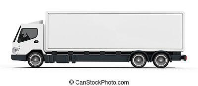 trailer., イラスト, トラック, ブランク, 白, 3d