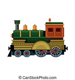 train., 蒸気, ベクトル, レトロ, icon., 機関車