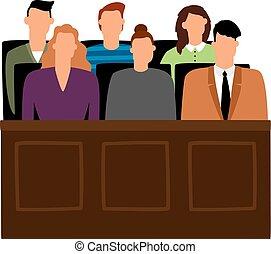 trial., 実行, ベクトル, 人々, 陪審, 法廷, 法廷, 陪審員, イラスト