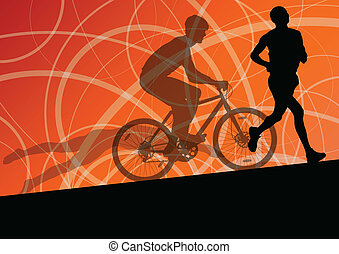 triathlon, サイクリング, 抽象的, 男性, 若い, コレクション, 動くこと, ベクトル, イラスト, 背景, 活動的, シルエット, スポーツ, マラソン, 水泳
