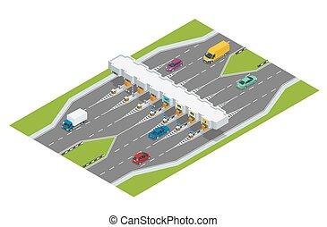 trucks., toll., ベクトル, ハイウェー, イラスト, 道, tollson., 支払い, 通行料, 平ら, ハイウェー, 等大, 自動車, 障壁, ターンパイク, チェックポイント, 3d