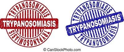trypanosomiasis, 傷付けられる, スタンプ, グランジ, ラウンド