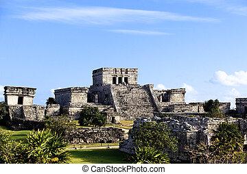 tulum, 有名, 台なし, 考古学的, メキシコ\