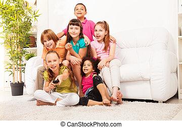 tv, 切換え, 子供