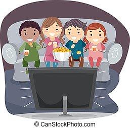 tv, 子供, stickman, 監視