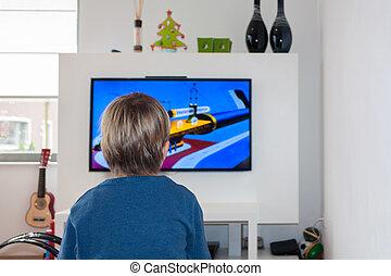 tv, 小さい子供, hd, 監視