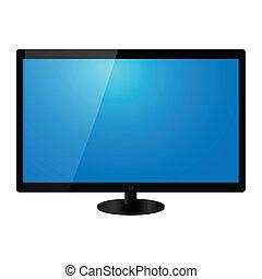 tv, 平らなスクリーン, ベクトル, イラスト