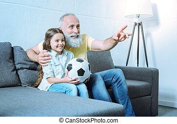 tv, 提示, フットボール, 祖父, ゲーム, 子供, 情事