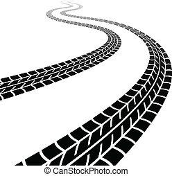 tyres, 巻き取り, ベクトル, 跡
