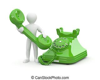 us., 男性, 電話。, 3d, 連絡