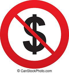 usd, いいえ, ドル, シンボル。, 印, 通貨, icon.