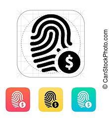 usd, お金の 記号, ラベル, 通貨, 指紋, icon.