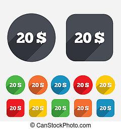 usd, 20, ドル, シンボル。, 印, 通貨, icon.