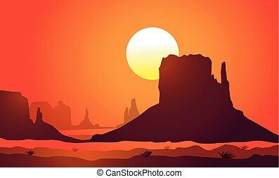 valley)sunset, アリゾナ, (monument