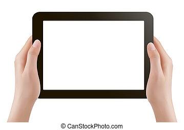 ve, タブレット, 手, pc., 保有物, デジタル