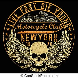 vectors, tシャツ, グラフィックス, オートバイ, 活版印刷