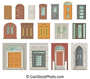 victorian, セット, 型, -, 建築, ドア, ヨーロッパ, gothic, 現代, 骨董品
