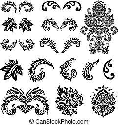 victorian, ベクトル, 装飾, セット