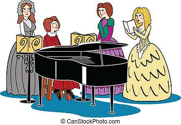 victorian, 女性, ピアノ, 四つ組, &