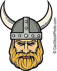 viking, helmet), 漫画, (mascot, 角がある, 頭
