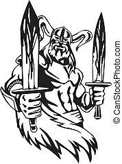 viking, illustration., -, ベクトル, vinyl-ready., nordic