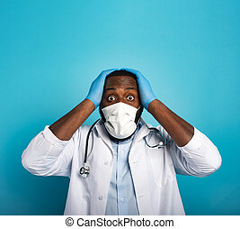 virus., 19, 心配した, 医療補助員, 恐れている, 背景, コロナ, covid, 青