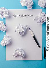 vitae, 白, ペーパー, 書かれた, ブランク, カリキュラム
