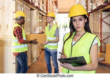 warehouse., 労働者, 分配, interracial, 倉庫
