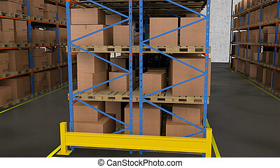 warehouse., 横列, コマーシャル, boxes., 棚