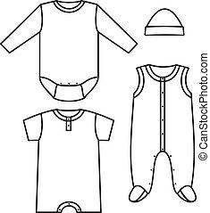 wear., ベクトル, イラスト, 子供