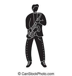 website., モビール, プレーする, シルエット, シンボル, saxophone., 音楽家, ∥あるいは∥, 人, 適用
