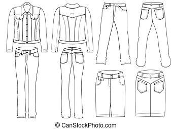 white., ベクトル, ジーンズ, 衣服